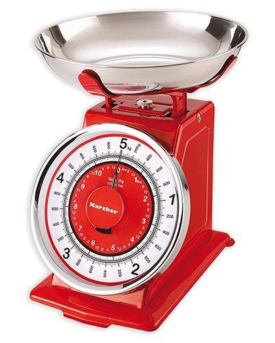 balance de cuisine mécanique à aiguilles vintage et rétro rouge
